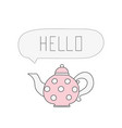 pink teapot with white polka dots cartoon vector image vector image