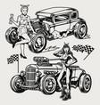 powerful retro custom cars vintage concept vector image vector image