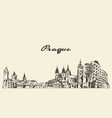 prague skyline czech republic drawn sketch vector image vector image