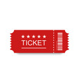 red ticket icon with shadow on blank background vector image vector image