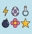 related icons of retro video games vector image