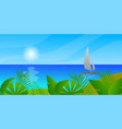sailboat in sea sun clouds tropical island vector image