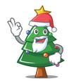 santa christmas tree character cartoon vector image vector image