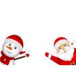 santa claus and christmas snowman vector image