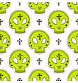 seamless pattern with skulls halloween background vector image vector image