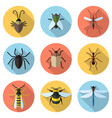 set of 9 insects icons vector image