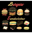 set of bright burgers and sandwiches vector image