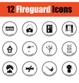 Set of fire service icons vector image vector image