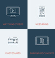 Set of Modern Thin Line Icons Watching videos vector image