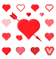 set of red hearts silhouette icons vector image