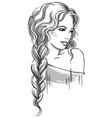 Sketch of a beautiful girl with braid vector image vector image