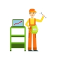 Smiling Mechanic With Wrench And Computer vector image vector image