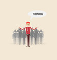 team leader standing with businesspeople vector image