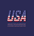 usa national flag style font vector image vector image