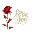 valentine day love postcard template single red vector image vector image