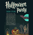 vertical poster with halloween party calligraphy vector image vector image