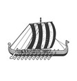 viking ship sketch vector image