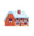 winter rural house with chimney vector image vector image