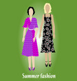 youth summer fashion girl silhouettes in modern vector image