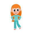 flat girl kid in funny nightgown slippers vector image