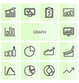 14 graph icons vector image vector image
