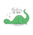 a cute dinosaur in love vector image