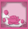 abstract chinese square frame with floral pink vector image vector image