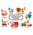 alphabet with transport and animals a to g vector image vector image