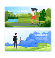 banners with rolling girl and hiking man vector image vector image