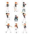 Baseball players set softball athletes characters