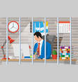 businessman working on computer in prison cell vector image