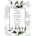 classic marble wedding invitation card with olive vector image vector image