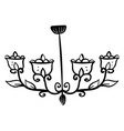 decorative chandelier drawing on white background vector image