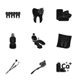 Dental care set icons in black style Big vector image