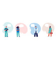 doctors and nurses with speech bubbles concept vector image vector image