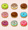 donuts with different fillings and colored vector image