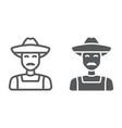 farmer line and glyph icon farming vector image vector image