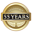 Fifty Five Years Experience Gold vector image vector image
