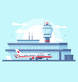flat airplane in airport on runway near building vector image vector image
