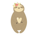 funny sloth girl in a flower wreath vector image vector image