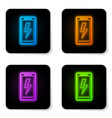 glowing neon smartphone charging battery icon vector image vector image