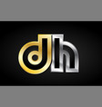 gold silver letter joint logo icon alphabet design vector image vector image