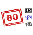 grunge 60 textured rectangle stamps vector image vector image