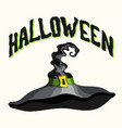 halloween title and black witch hat on white vector image vector image