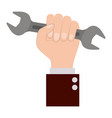 hand holding wrench flat icon colorful silhouette vector image vector image