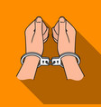 hands in handcuffs icon in flat style isolated on vector image