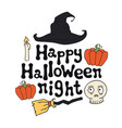 happy halloween night halloween theme handdrawn vector image vector image