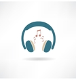 Headphones and notes icon vector image vector image