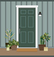 house door front with plants flat style building vector image