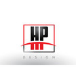 hp h p logo letters with red and black colors and vector image vector image